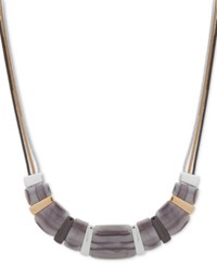 Nine West Tri Tone And Stone Triple Chain Beaded Collar Necklace 16 2 Extender Grey