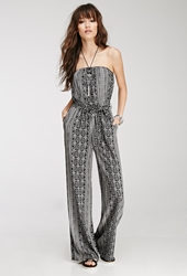 Forever 21 Tribal Print Strapless Jumpsuit Black White