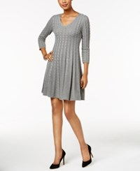 Jessica Howard Cable Knit Sweater Dress Gray
