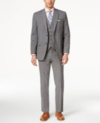 Tommy Hilfiger Men's Slim Fit Grey Plaid Vested Suit