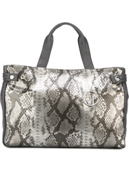 Armani Jeans Snakeskin Effect Shopping Tote Grey