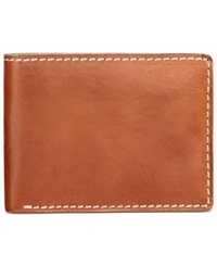 Nash By Patricia Nash Men's Heritage Leather Double Billfold Id Wallet Tan