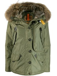 Parajumpers Fur Trimmed Padded Coat Green