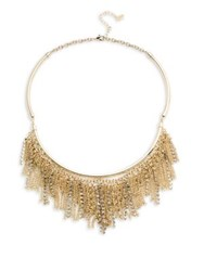 Abs By Allen Schwartz Chain And Pave Fringe Frontal Necklace Gold