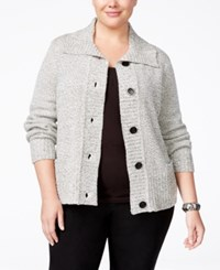 Karen Scott Plus Size Marled Cardigan Only At Macy's Bright White Marble