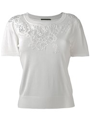 Ermanno Scervino Lace Detail Cropped T Shirt White