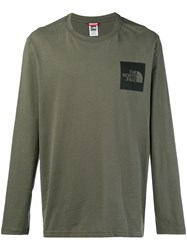 The North Face Logo Print Long Sleeve Top Green