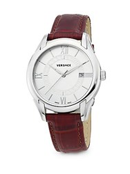 Versace Stainless Steel Leather Strap Watch No Color