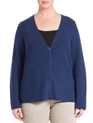 Eileen Fisher Plus Size Merino Wool Zip Front Cardigan