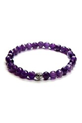 Charlene K Amethyst Beaded Stretch Bracelet Purple