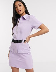 Parisian Utility Mini Dress With Seat Belt Buckle In Lilac Purple