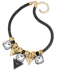 Bar Iii Gold Tone And Black Plated Crystal Stone Statement Necklace