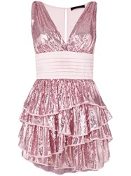 Christian Pellizzari Layered V Neck Sequin Dress Pink And Purple