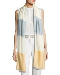 Loro Piana Vento Colorblock Cashmere Silk Stole Green