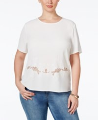 Monteau Plus Size Short Sleeve Embroidered Blouse White