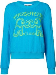 Moschino Elephant Cable Knit Jumper Blue