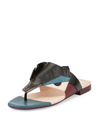 Fendi Leather Bug Thong Sandal Black Peony Peacock