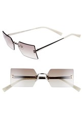 Kendall Kylie Grace 53Mm Rimless Rectangular Sunglasses Silver Brown Clear Gradient Silver Brown Clear Gradient