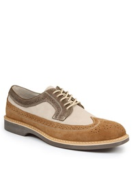 Bass Pearson Suede And Leather Wingtip Oxfords Taupe