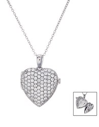 Lord And Taylor Sterling Silver And Cubic Zirconia Heart Locket