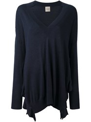 Nude V Neck Flared Pullover Blue