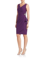 Alex Evenings Pleated Surplice Sheath Dress Summer Plum