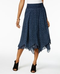 Style And Co Petite Cotton Printed Handkerchief Hem Skirt Only At Macy's Daisy Parade