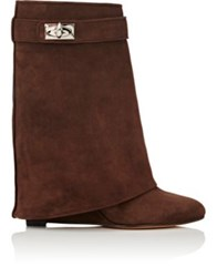 Givenchy Women's Shark Line Suede Wedge Ankle Boots Dark Brown