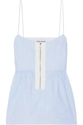 Elizabeth And James Eloise Striped Cotton Poplin Top Light Blue