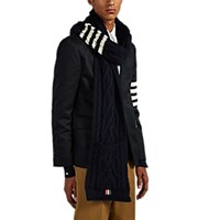 Thom Browne Aran Striped Cable Knit Wool Mohair Scarf Navy