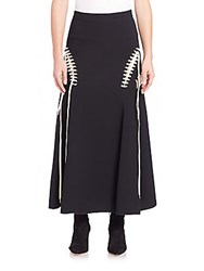 Derek Lam Mid Length Skirt With Lace Detail Black Ivory