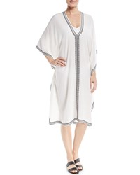 Marie France Van Damme Boubou Spade Embroidered V Neck Silk Coverup Dress One Size White
