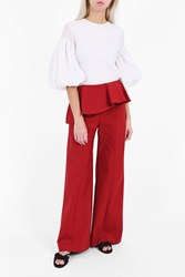 Rosie Assoulin Women S Ruffle Flap Trousers Boutique1 Red