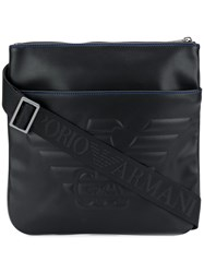 Emporio Armani Faux Leather Embossed Logo Messenger Bag Black