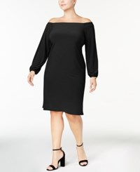 Inc International Concepts Plus Size Off The Shoulder Dress Created For Macy's Deep Black
