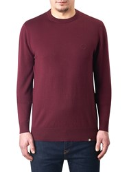 Pretty Green Mandeville Crew Neck Jumper Burgundy