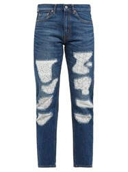 Junya Watanabe Lace Patchwork Straight Leg Jeans Blue