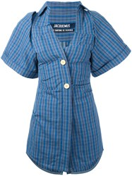 Jacquemus Checked Fitted Shirt Dress Women Cotton Linen Flax 34 Grey