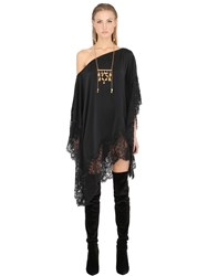 Ma'an Silk Satin And Lace Caftan Mini Dress