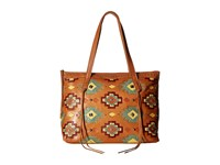 American West Adobe Allure Zip Top Tote Golden Tan Red Yellow Turquoise Green Orange 1 Tote Handbags Brown
