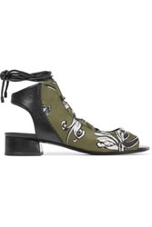 3.1 Phillip Lim Drum Lace Up Leather And Printed Neoprene Sandals Army Green