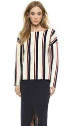 Jenni Kayne Baja Sweater Ivory Red Navy