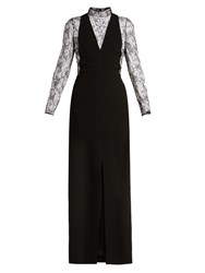 Givenchy Wool And Floral Lace Evening Gown Black