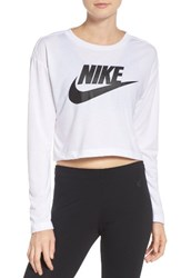 Nike Women's Sportswear Graphic Crop Tee White White Black