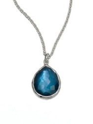 Ippolita Wonderland Indigo Mother Of Pearl Clear Quartz And Sterling Silver Mini Teadrop Doublet Pendant N Silver Blue