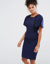 Liquorish Lace Insert Wiggle Dress With Cape Sleeves Navy