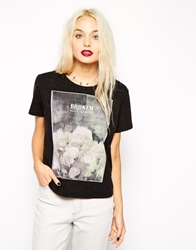Asos T Shirt In Acid Wash With Floral Memoir Print Black