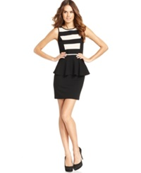 Kensie Dress Sleeveless Striped Peplum Sheath