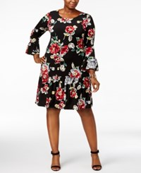 Connected Plus Size Ruffled Drop Waist Dress Red