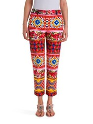 Dolce And Gabbana Printed Stretch Wool Silk Pants Red Caretto